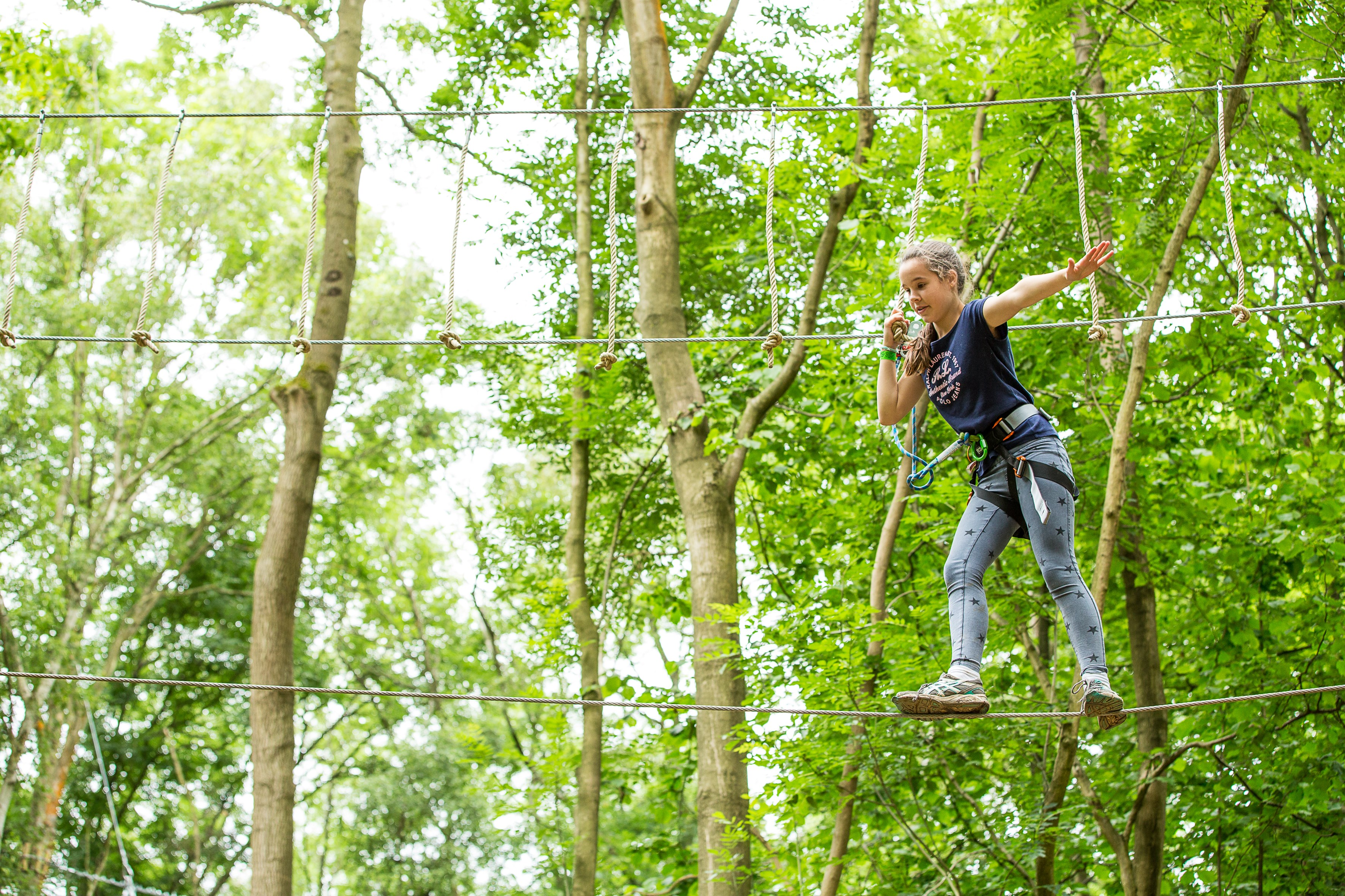 Tight Rope Walking At Brand New Go Ape At Chessington World Of Adventures Resort